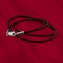 Brown Leather Cord Necklace with Sterling Silver Clasp