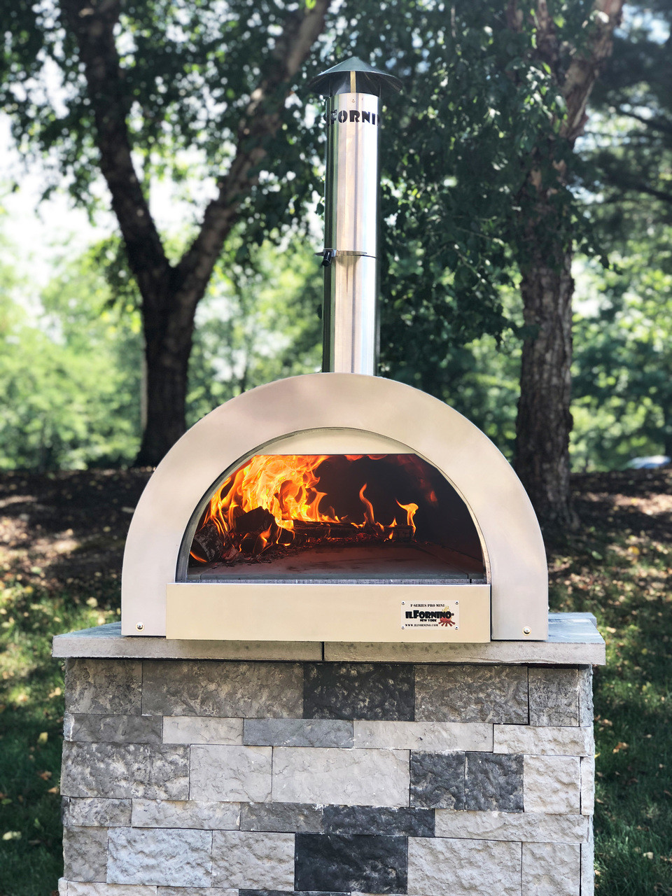 ilFornino® Fiamma Rossa– Media Stainless Steel Wood Burning Pizza Oven with Adjustable Height Stand