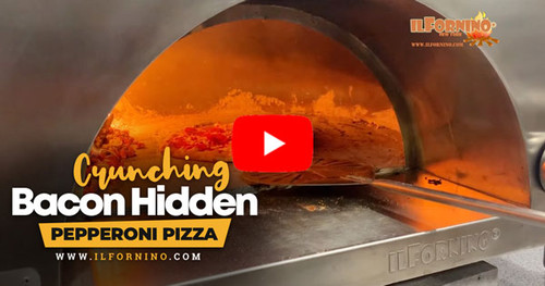 Crunching Bacon Hidden Pepperoni Pizza in Wood Fired Oven