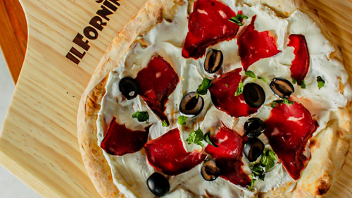 Labneh and arabic style Pastrami breakfast pizza