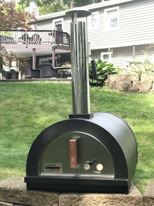 ilFornino® Piccolino Wood Fired Pizza Oven – Black- Counter Top