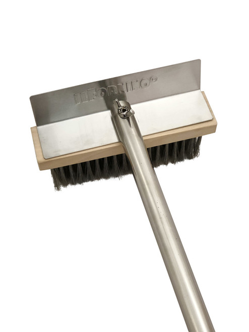 """ilFornino® Stainless Steel Brush with Scraper 24"""" Handle"""