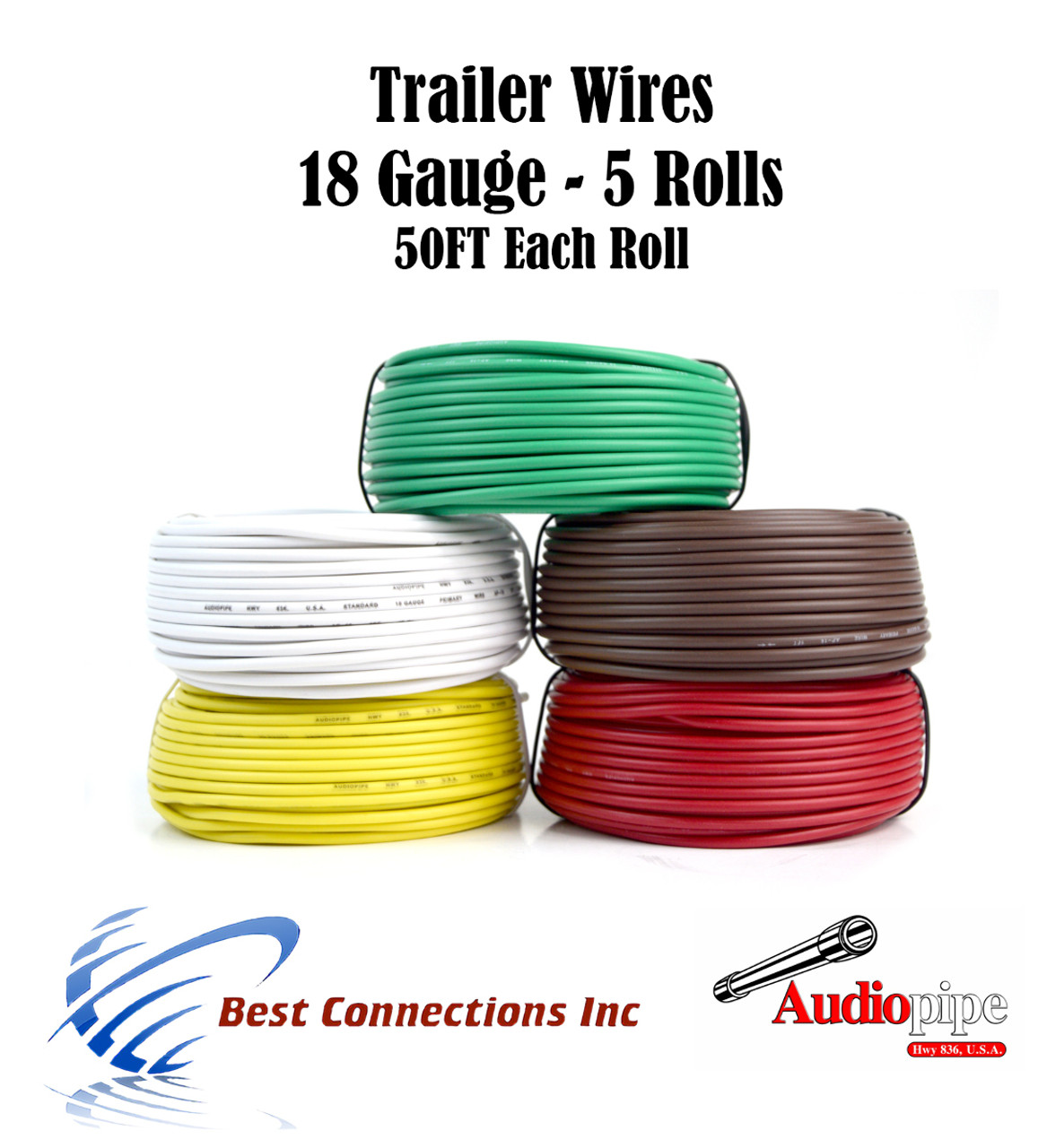 5 Way Trailer Wire Light Cable For Harness Led 50ft Each Roll 18 Copper Gauge Colors