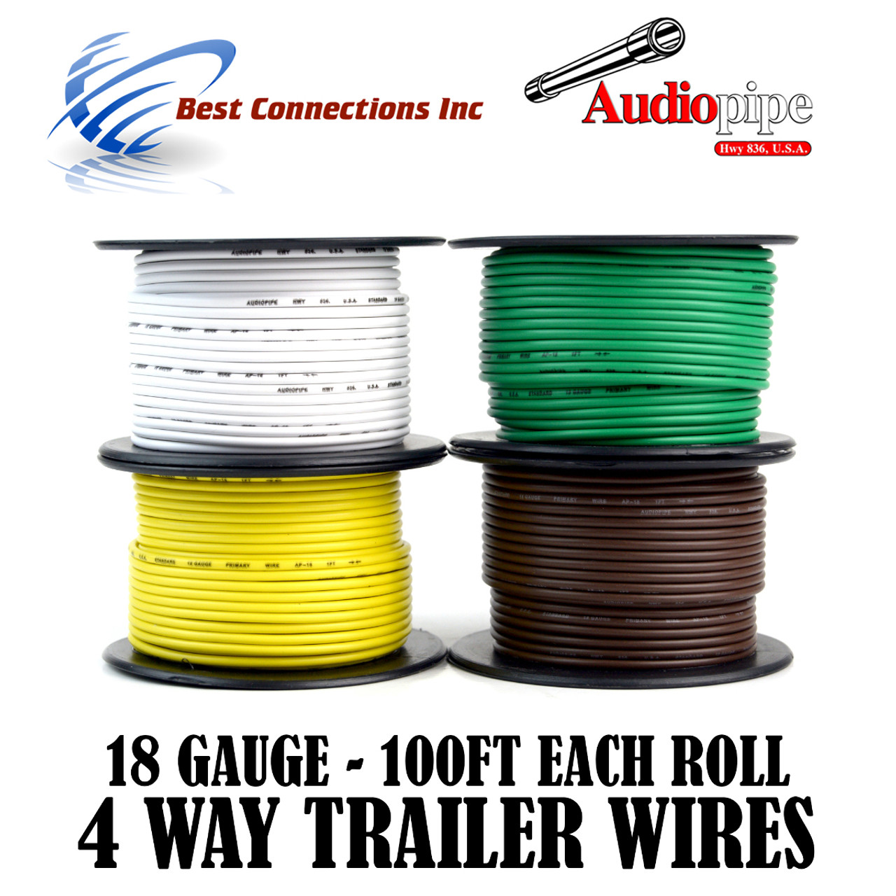 Trailer Wire Light Cable For Harness 4 Way Cord 18 Gauge