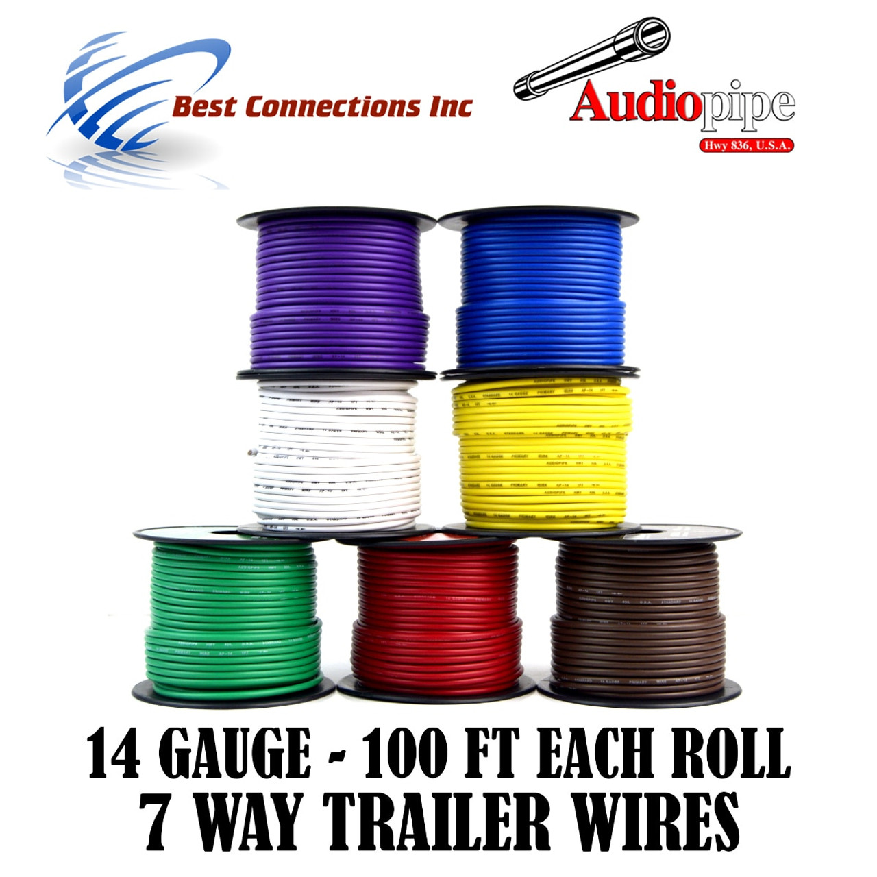 14 Gauge 100 Feet Trailer Light Cable Wiring Harness 7 Colors Rewire Plastic
