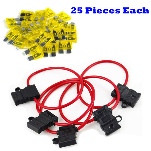 d0f51ebc1672 10 Gauge In-Line ATC/ATO Fuse Holders & ATC 20A Blade Fuses (25 Pack) Combo  Pack