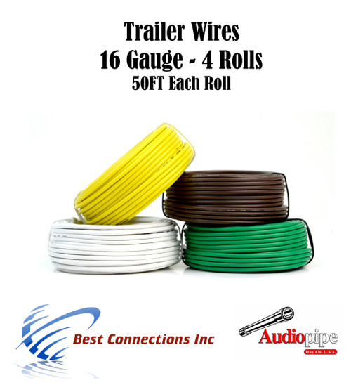 4 Way Trailer Wire Light Cable for Harness 50 FT Each Roll 16 Gauge  Wire Harness Gauge on