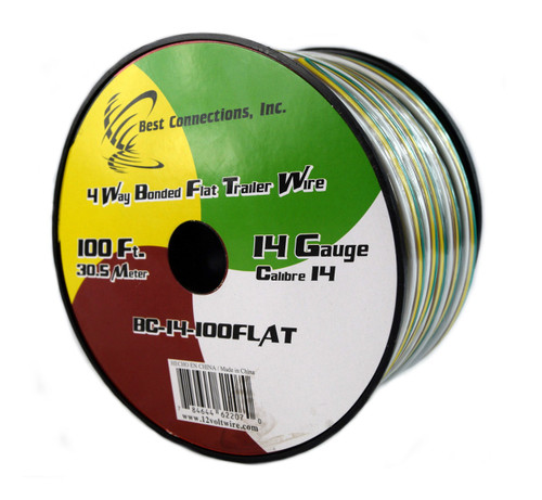 Flat Trailer Light Cable Wiring Harness 100 Feet 14 AWG 4 Wire CCA on trailer mounting brackets, trailer hitch harness, trailer generator, trailer brakes, trailer fuses, trailer plugs,
