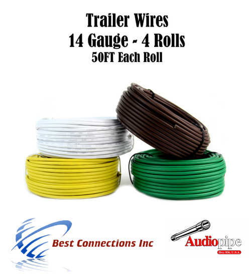 trailer light cable wiring for harness 50 feet 14 gauge 4 wire 4 colors