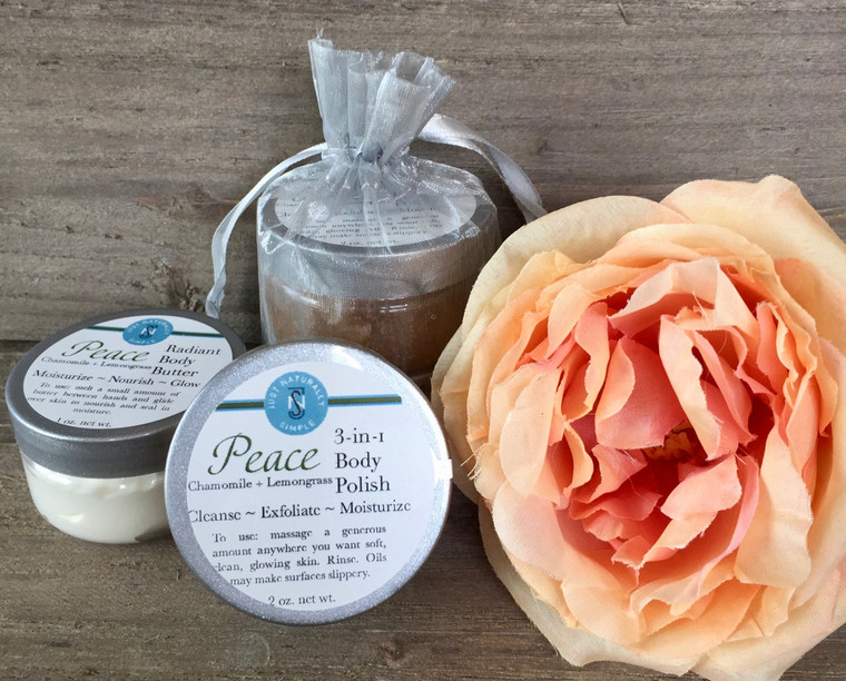 Peace travel sized set - 3-in-1 Body Polish and Radiant Body Butter in a silver mesh pouch. Chamomile and lemongrass scent
