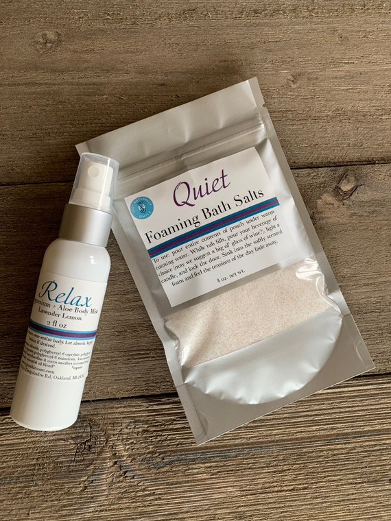 Quiet foaming epsom bath salts and Relax magnesium and aloe body spray. Scented with lavender and lemon essential oils.
