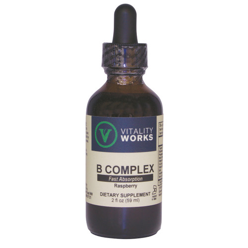 Vitality Works B Complex, from Eidon Ionic Minerals. A synergistic blend of all B vitamins in a liquid bio-available formula.