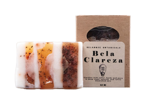 Bela Clareza natural facial soap clarifies, cleans, and calms blemished skin.