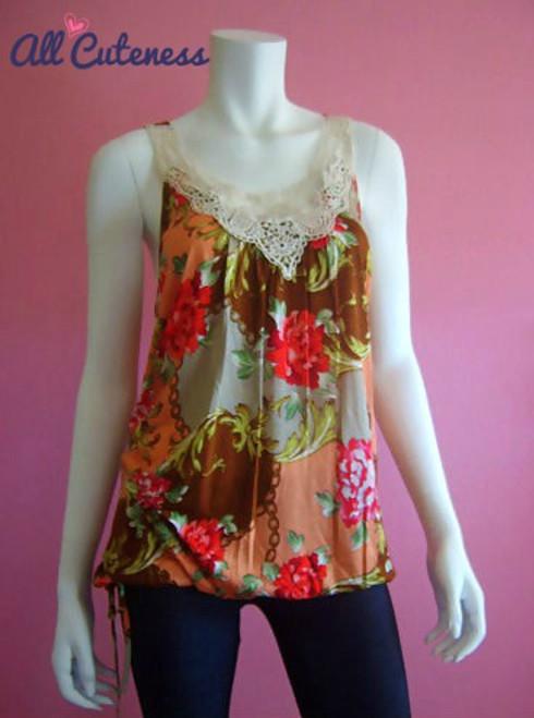 Plus Size Crochet Accent Floral Top