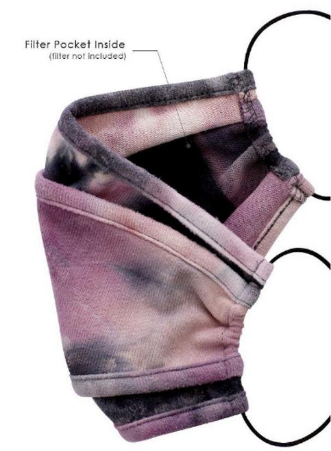 Tie Dye Face Mask w/ Filter Pocket: Purple
