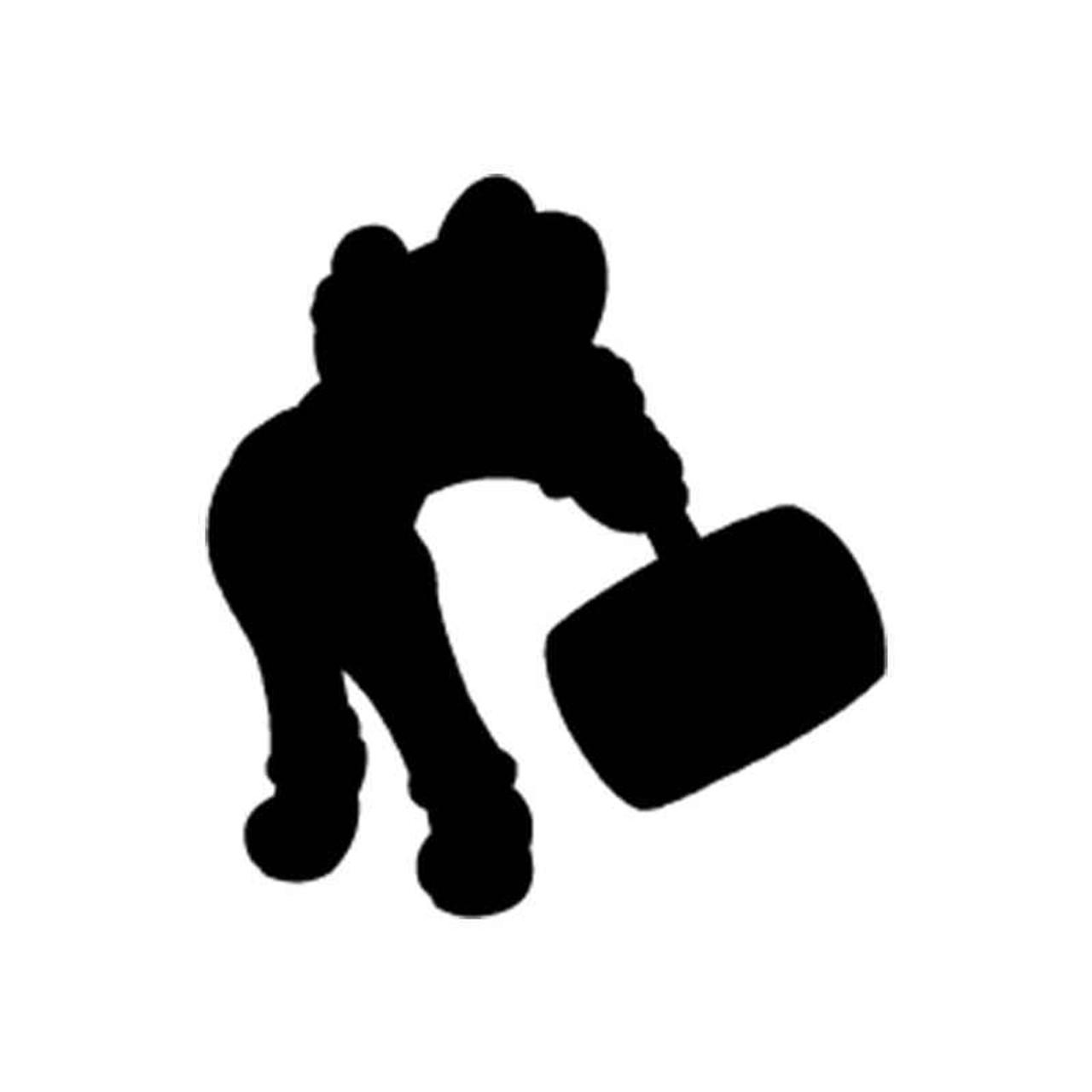 Mario Bros Mario Hammer Silhouette Vinyl Sticker