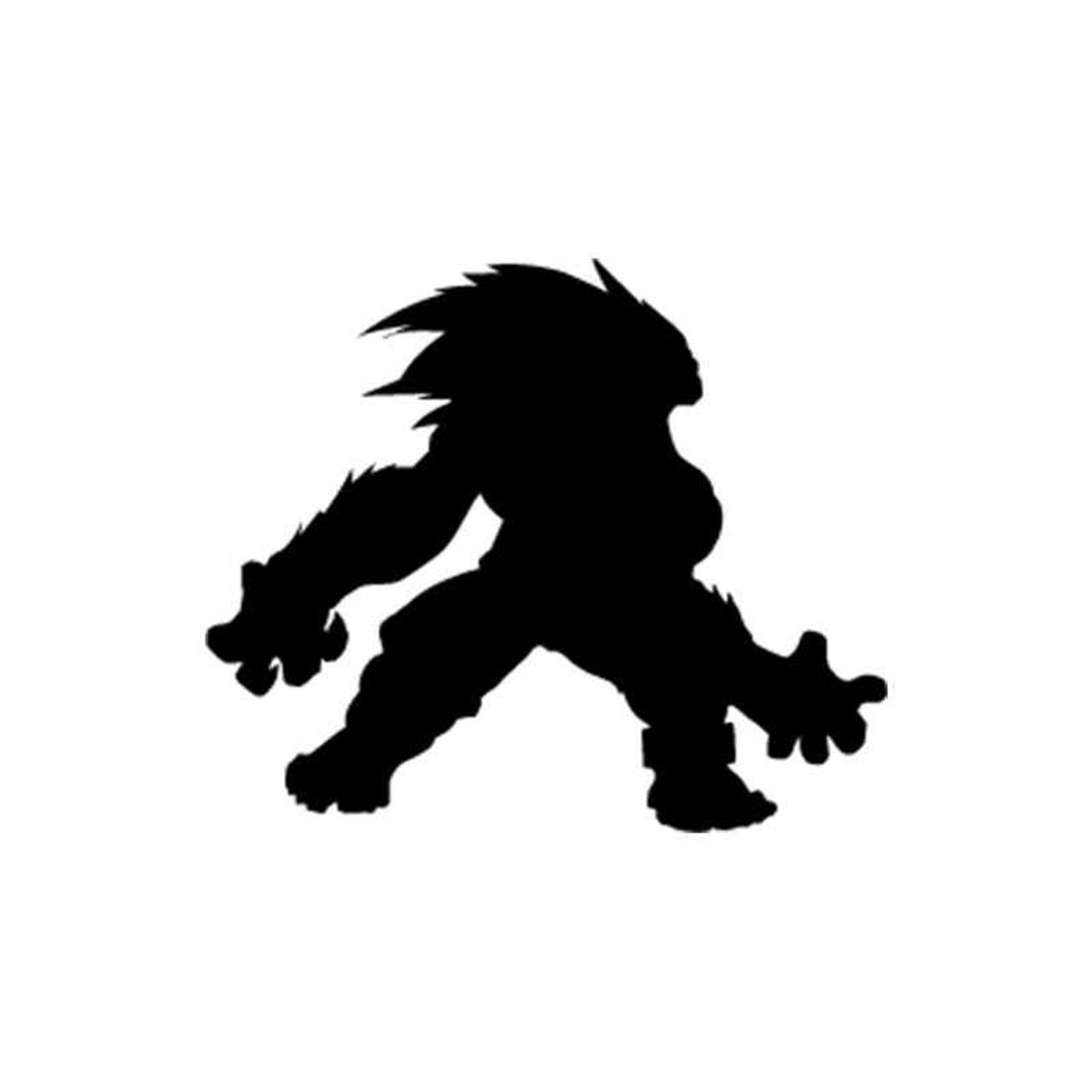Street Fighter Blanka Silhouette Vinyl Sticker
