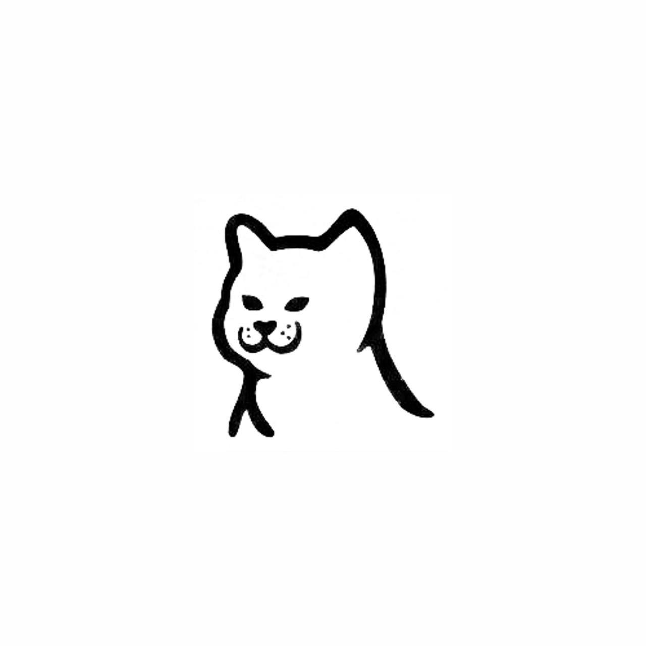 Cat Head Cartoon Outline Vinyl Decal