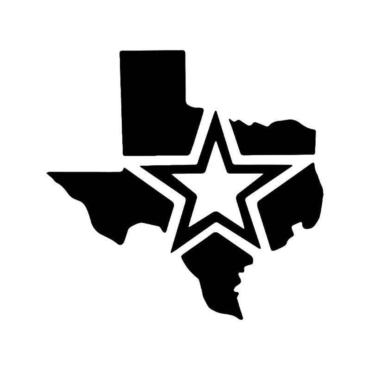 Star Of Texas >> Star Of Texas State Map Vinyl Sticker