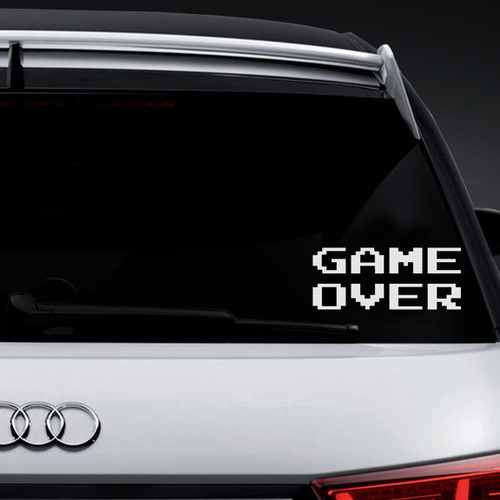 Game Over 8-Bit Vinyl Decal Sticker High glossy, premium 3 mill vinyl, with a life span of 5 - 7 years!