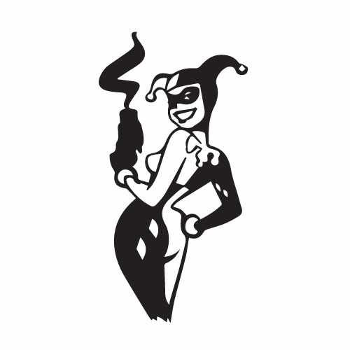 Harley Quinn Smoking Gun Vinyl Decal Sticker  Size option will determine the size from the longest side Industry standard high performance calendared vinyl film Cut from Oracle 651 2.5 mil Outdoor durability is 7 years Glossy surface finish