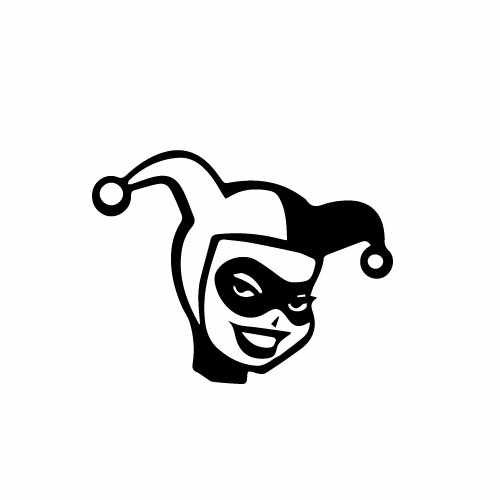 Harley Quinn Face Vinyl Decal Sticker  Size option will determine the size from the longest side Industry standard high performance calendared vinyl film Cut from Oracle 651 2.5 mil Outdoor durability is 7 years Glossy surface finish