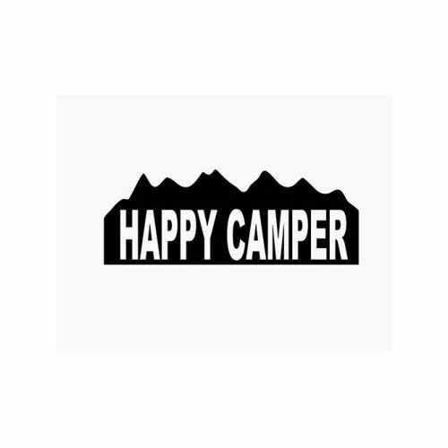 Happy Camper Camping Hunting  Vinyl Decal Sticker  Size option will determine the size from the longest side Industry standard high performance calendared vinyl film Cut from Oracle 651 2.5 mil Outdoor durability is 7 years Glossy surface finish