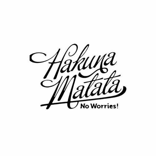 Hakuna Matata No Worries  Vinyl Decal Sticker  Size option will determine the size from the longest side Industry standard high performance calendared vinyl film Cut from Oracle 651 2.5 mil Outdoor durability is 7 years Glossy surface finish