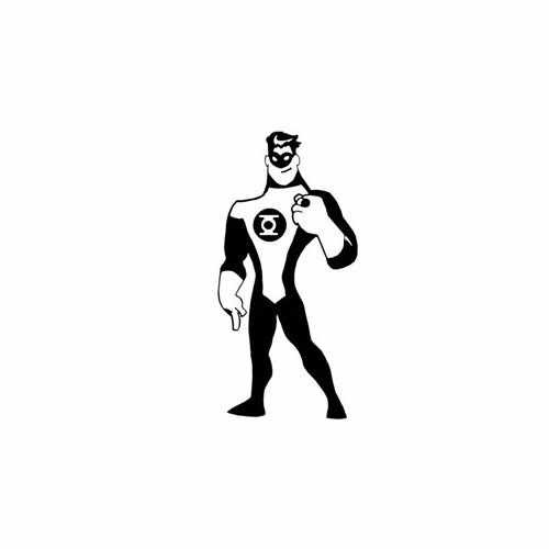 Green Lantern Superhero Toon  Vinyl Decal Sticker  Size option will determine the size from the longest side Industry standard high performance calendared vinyl film Cut from Oracle 651 2.5 mil Outdoor durability is 7 years Glossy surface finish