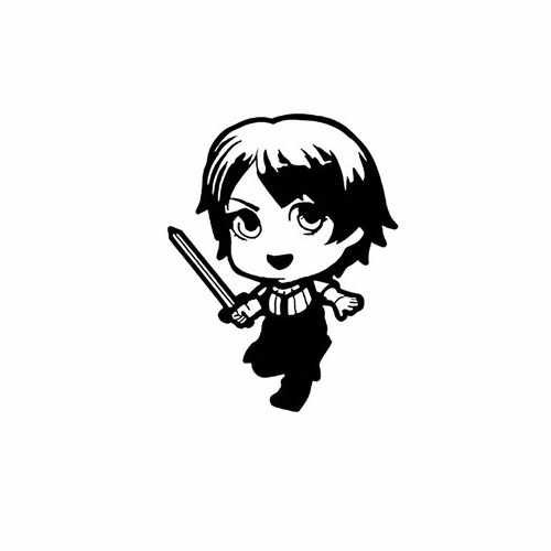 Game Of Thrones; Baby Arya Stark  Vinyl Decal Sticker  Size option will determine the size from the longest side Industry standard high performance calendared vinyl film Cut from Oracle 651 2.5 mil Outdoor durability is 7 years Glossy surface finish