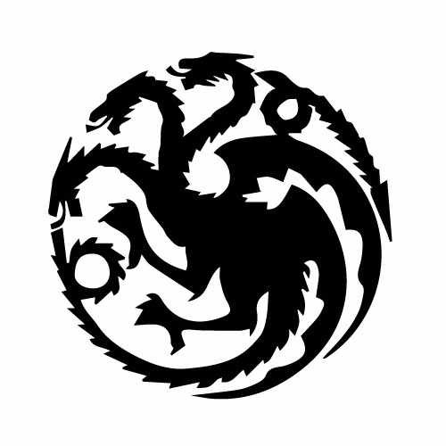 Game Of Thrones House Of Targaryen Vinyl Decal Sticker  Size option will determine the size from the longest side Industry standard high performance calendared vinyl film Cut from Oracle 651 2.5 mil Outdoor durability is 7 years Glossy surface finish