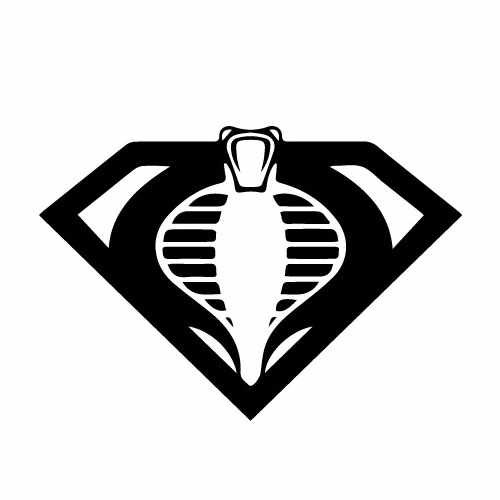 G.I. Joe Cobra_Superman Mashup Vinyl Decal Sticker  Size option will determine the size from the longest side Industry standard high performance calendared vinyl film Cut from Oracle 651 2.5 mil Outdoor durability is 7 years Glossy surface finish
