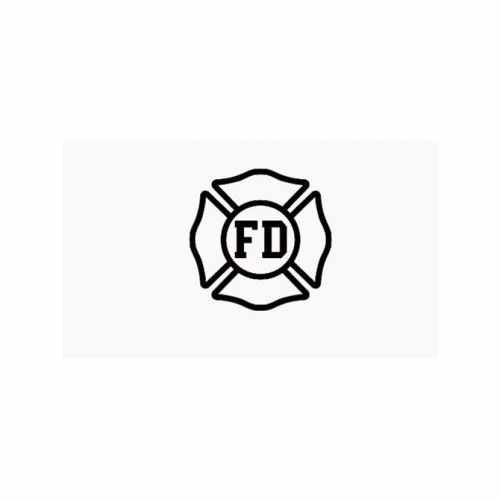 Fire Department Logo  Vinyl Decal Sticker  Size option will determine the size from the longest side Industry standard high performance calendared vinyl film Cut from Oracle 651 2.5 mil Outdoor durability is 7 years Glossy surface finish