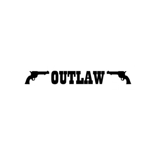 Outlaw With Pistols  Vinyl Decal High glossy, premium 3 mill vinyl, with a life span of 5 - 7 years!