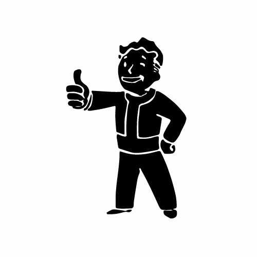 Fallout Vault Boy Full Body Vinyl Decal Sticker  Size option will determine the size from the longest side Industry standard high performance calendared vinyl film Cut from Oracle 651 2.5 mil Outdoor durability is 7 years Glossy surface finish