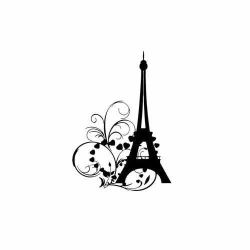 Eifel Tower  Vinyl Decal Sticker  Size option will determine the size from the longest side Industry standard high performance calendared vinyl film Cut from Oracle 651 2.5 mil Outdoor durability is 7 years Glossy surface finish