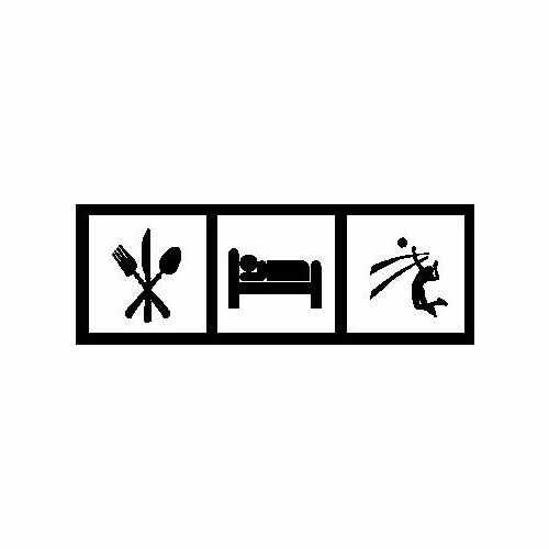 Eat Sleep Volleyball  Vinyl Decal Sticker  Size option will determine the size from the longest side Industry standard high performance calendared vinyl film Cut from Oracle 651 2.5 mil Outdoor durability is 7 years Glossy surface finish