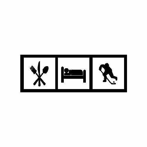 Eat Sleep Hockey  Vinyl Decal Sticker  Size option will determine the size from the longest side Industry standard high performance calendared vinyl film Cut from Oracle 651 2.5 mil Outdoor durability is 7 years Glossy surface finish