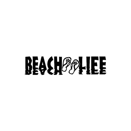 Beach Life with Flip Flops    Reflective LetteringVinyl Decal High glossy, premium 3 mill vinyl, with a life span of 5 - 7 years!