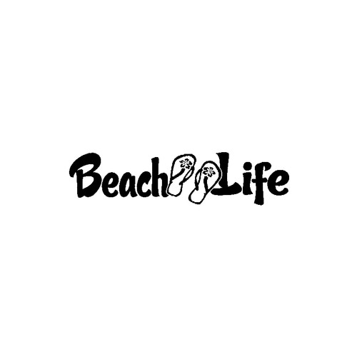 Beach Life with Flip Flops     Vinyl Decal High glossy, premium 3 mill vinyl, with a life span of 5 - 7 years!