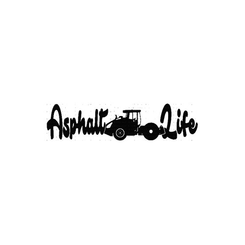 Asphalt Life   with Road Steam Roller  ConstructionVinyl Decal High glossy, premium 3 mill vinyl, with a life span of 5 - 7 years!