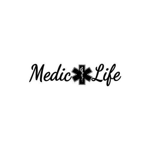 Medic Life with Star of Life    for   Vinyl Decal High glossy, premium 3 mill vinyl, with a life span of 5 - 7 years!