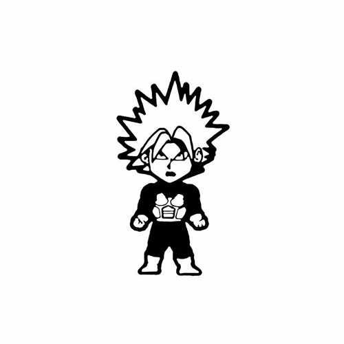 Dragon Ball Z; Baby Trunks  Vinyl Decal Sticker  Size option will determine the size from the longest side Industry standard high performance calendared vinyl film Cut from Oracle 651 2.5 mil Outdoor durability is 7 years Glossy surface finish