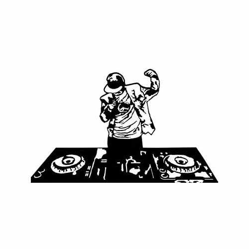 Dj  Vinyl Decal Sticker  Size option will determine the size from the longest side Industry standard high performance calendared vinyl film Cut from Oracle 651 2.5 mil Outdoor durability is 7 years Glossy surface finish