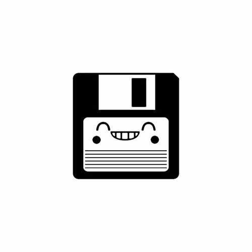 Diskette Smile  Vinyl Decal Sticker  Size option will determine the size from the longest side Industry standard high performance calendared vinyl film Cut from Oracle 651 2.5 mil Outdoor durability is 7 years Glossy surface finish