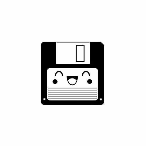 Diskette Laughing  Vinyl Decal Sticker  Size option will determine the size from the longest side Industry standard high performance calendared vinyl film Cut from Oracle 651 2.5 mil Outdoor durability is 7 years Glossy surface finish