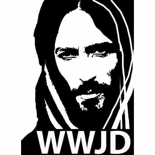 Christian Wwjd Jesus Face  Vinyl Decal Sticker  Size option will determine the size from the longest side Industry standard high performance calendared vinyl film Cut from Oracle 651 2.5 mil Outdoor durability is 7 years Glossy surface finish