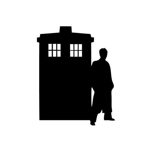Silhouette Tardis and Doctor Vinyl Decal <div> High glossy, premium 3 mill vinyl, with a life span of 5 – 7 years! </div>