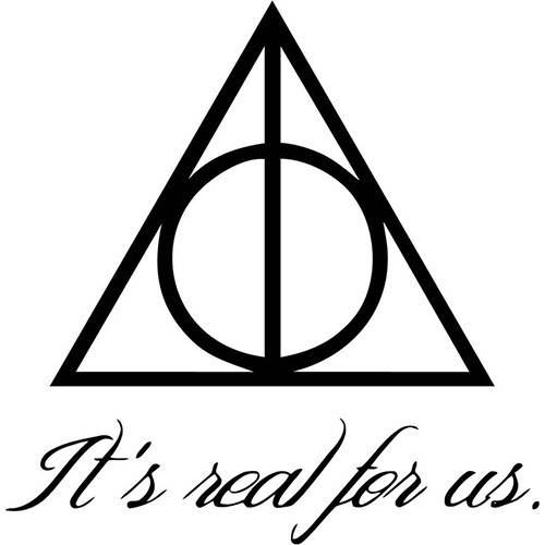 Harry Potter It's Real For Us Deathly Hallows Vinyl Decal <div> High glossy, premium 3 mill vinyl, with a life span of 5 – 7 years! </div>