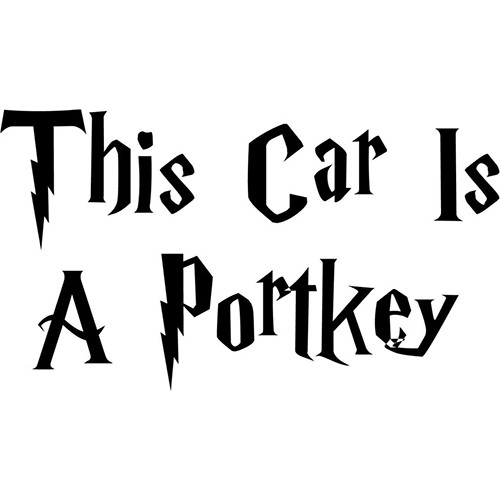 Harry Potter This Car Is A Portkey Vinyl Decal <div> High glossy, premium 3 mill vinyl, with a life span of 5 – 7 years! </div>